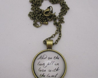 Twilight / And So the Lion Fell in Love With the Lamb Book Quote / Antique Bronze 25mm / 1 in Glass Dome Cabochon Pendant Necklace