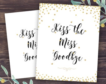 Kiss the Miss Goodbye Sign, Bridal Shower Game Ideas, Unique Activities, Gold Confetti and Glitter, Wedding Shower Instant Download DIY
