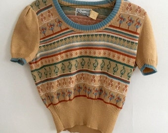1970s Vintage Festival Short- Sleeve Crop Sweater