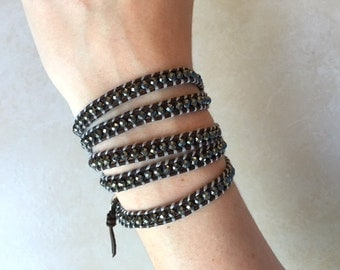 Shiny Black Beaded Wrap Bracelet