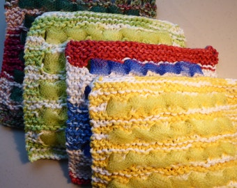 Scrubby Dish cloth, hand knit cotton wash cloth