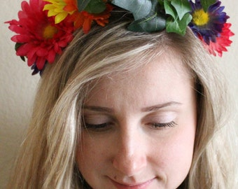 Multi colored flower crown