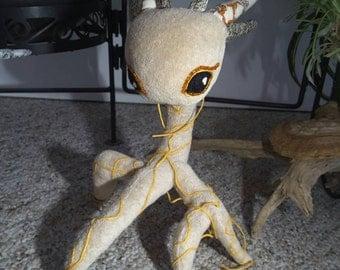 Beige and Yellow Root Spirit - Plush Fantasy Creature