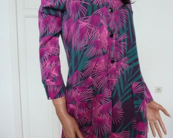 DIANE von FURSTENBERG DVF Shirt Dress Silk Pink & Green Tropical Print  Frock Palm Trees Shift