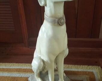 Vintage Life-Size Plaster Greyhound Whippet Dog Statue Hollywood Regency