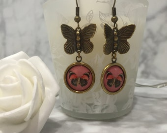 Antique Brass Vintage Style Butterfly Earrings