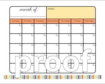 Blank Monthly Calendar Printable | 8.5 x 11 inch | Digital Download