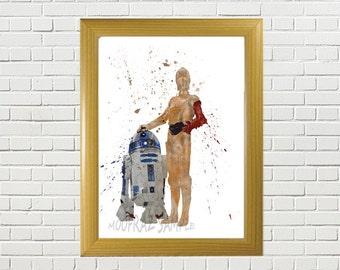 Star Wars,c3po and r2d2   - Digital Download, watercolor print, art print, poster