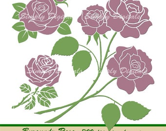 Burgundy Roses. Flower Clipart. Wedding Clipart. Scrapbooking. Greetings. Invites. Instant Download. SD.