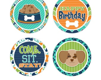 """Pampered Pooch Digital 2"""" Two Inch Party Circles Boys Birthday Party Printable Puppy Dog Cupcake Toppers INSTANT DOWNLOAD"""
