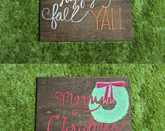 Reversible Happy Fall Y'all/Merry Christmas Sign || Holiday Decor || Fall Decor || Christmas Decor