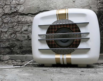 "Active speaker ""night fever"" antique heater UPCYCLING unique textile jack"