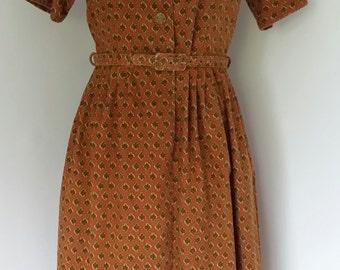 "35.5"" Bust Vintage 60's Baroque Print Dress"