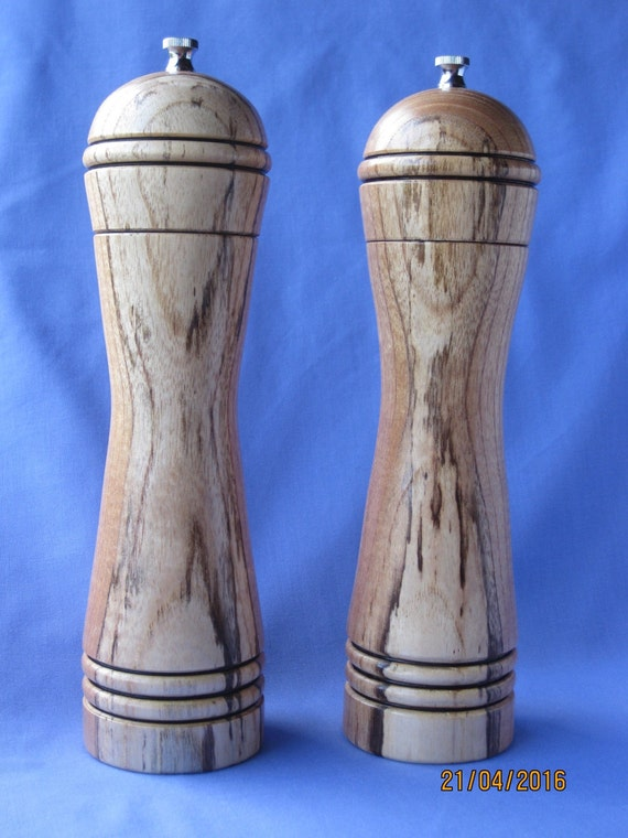 Unique handcrafted pair of salt and pepper mills grinders - Novelty pepper grinder ...