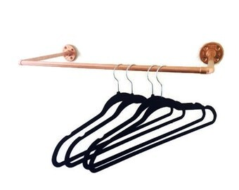 Industrial Copper Pipe Wall Copper Clothing Rack