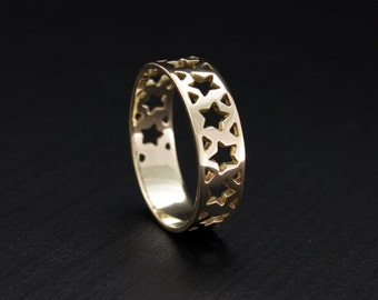 Stars ring, Stars women ring, Stars wedding band, Lovely ring, Unique design ring, Gold women ring, Gift for women, Love gift, Band 14k gold