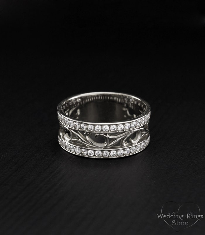 vintage style promise ring nature silver band leaves ring
