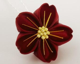 Burgundy sakura kanzashi hairpin