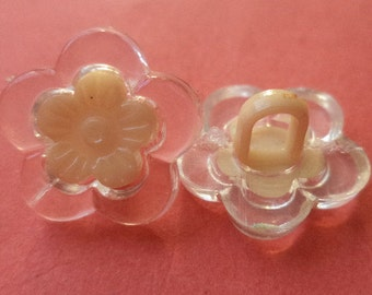 beige 12 small buttons 16mm (5090) Flower button