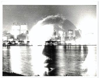 Original Vintage Black and White Amateur Photography Double Exposure Art Print