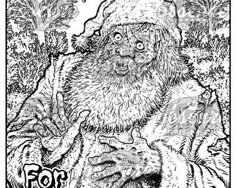 Digital Zombie Coloring Page - SANTA CLAUS - 'Tis the Season For Brains!