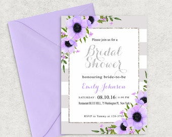 Lilac and Silver Shine Bridal  Shower Invitation, Lilac Bridal Shower Invite, Printable Bridal Shower Invitation, Custom invitation
