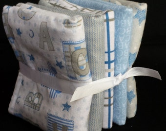 Baby Burp Cloths – Set of 5 or Set of 3 - ABC Trains and Stars
