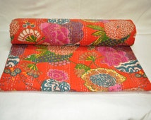 Vintage Kantha Quilt Gudri, Handmade Kantha Ethnic Stitch Decorative Gudri Floral Print King Size Quilt ,Indian Handmade Bohemian Bedspread