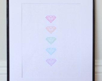 Rainbow Diamond Line Print