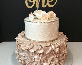Cursive One Cake Topper, gold glitter cake topper, First Birthday Cake Topper, one cake topper