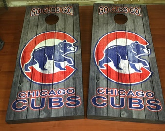 Custom Made Cornhole Bean Bag Toss BOARDS Chicago cubs weathered wood look  !!
