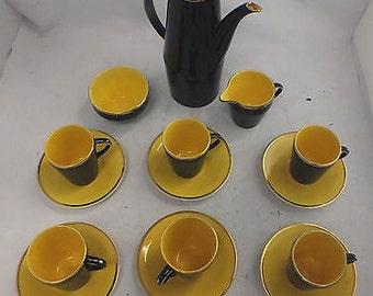 Lovely Vintage 15 Piece PALISSY MADELEINE 22 Carat Gold Espresso Set