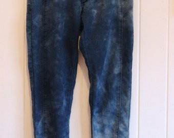 Tie dye jeans, mid waist, high waisted, stretchable, 90's, grunge, skinny leg