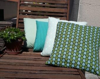 Nature print cotton cushion