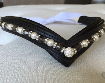 Swarovski Crystal, Pearl, and Greige V-Front Bling Browband - Horse/Full