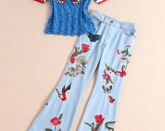 Vintage Styled Embroidered Butterfly Bell Bottom Jeans and Top
