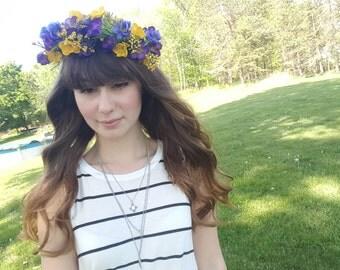 Handmade purple & yellow flower crown