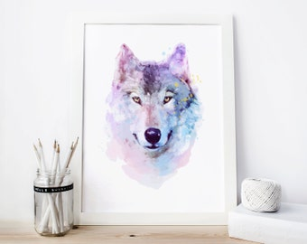 Wolf Wall Art wolf watercolor | etsy