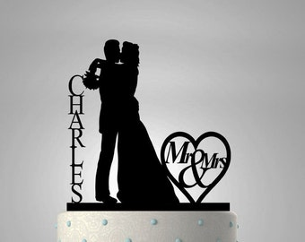 Wedding Cake Topper With Kissing Couple Heart and Last Name  #14 CT - 2