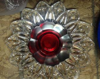 Upcycled Garden Plate Flower, Garden Art, Garden Art Decor, Yard Art, Red, Silver and Vintage Glass