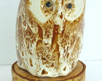 Vintage Pigeon Forge Pottery Owl with Wooden Base, Mottled, Tennessee, Signed