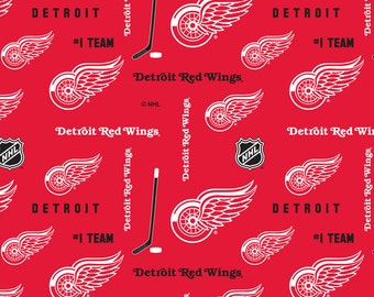 NHL DETROIT Red WINGS Red Hockey 100% cotton fabric material you choose size licensed for Crafts, Quilts, clothing and Home Decor