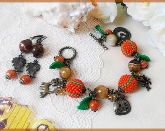 Halloween jewelry set Pendant bronze bracelet Halloween leaf earrings Pumpkin orange jewelry Halloween gift for daughter Boho brown bracelet