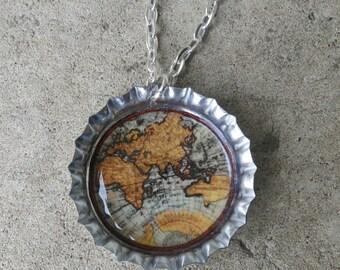 World Map Bottle Cap Necklace