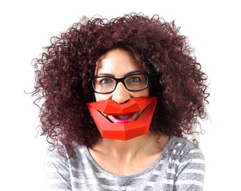Make your own BIG LIPS funny mask using card, with this PDF template download
