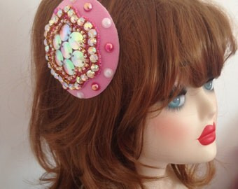 Pillbox Hat Fascinator Pearls Wedding Pink Rhinestones  Millinery Bibi Fifties