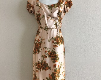 ON SALE Jeannette Alexander 50s classic vintage floral satin wiggle dress, bows, hourglass fit! pinup wedding floral gown