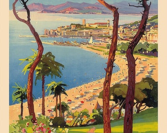 Travel Poster, Vintage Travel Poster, Travel, Vintage, Cannes, France