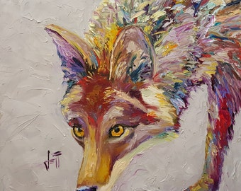 Coyote art print//Southwestern animal art print//Colorful coyote art print//Coyote wall decor//Coyote giclee canvas print//Wolf art print