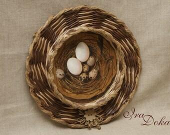 "Brown Easter dish weaving handmade ""Bird's Nest"""